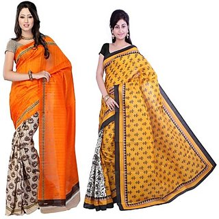 Muta Fashions Excellent Bhagalpuri Sari Pack Of 2