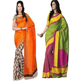 Muta Fashions Fantastic Bhagalpuri Sari Pack Of 2