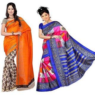 Muta Fashions Yash Bhagalpuri Sari Pack Of 2