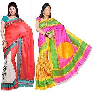 Muta Fashions Latest Bhagalpuri Sari Pack Of 2
