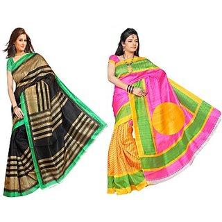 Muta Fashions Phenomenal Bhagalpuri Sari Pack Of 2