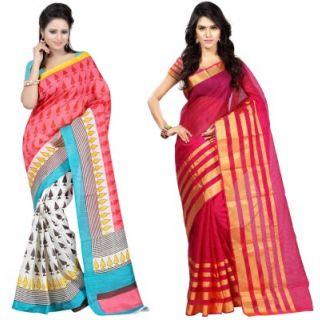Muta Fashions Grand Bhagalpuri Sari Pack Of 2