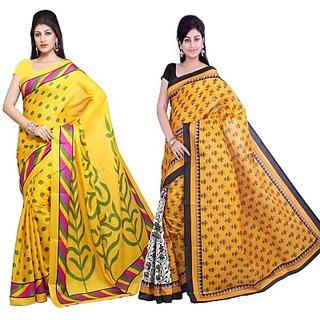 Muta Fashions Charming Bhagalpuri Sari Pack Of 2