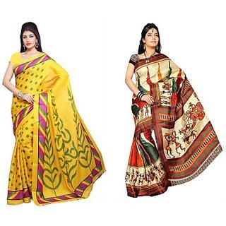Muta Fashions In Trend Bhagalpuri Sari Pack Of 2