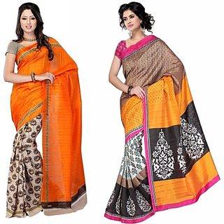Muta Fashions Elegant Bhagalpuri Sari Pack Of 2
