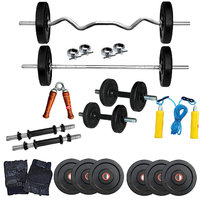 Fitfly Rubberised 18Kg Home Gym Set With 3Ft Curl Rod&3Ft Plain Rod & All Gym Accessories