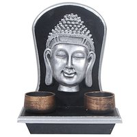 Orchard Silver Buddha Face On A Black And Silver Frame With Two Golden Cup Candle Holders-1130