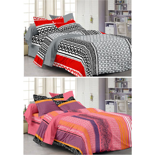 Story@Home Set Of 2 Double Bedsheet With 4 Pillow Cover -CN_1253-1230