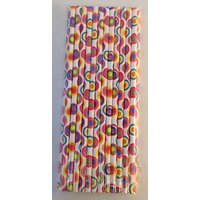 Funcart Funcart Paper Straws 25Pcs Colorful Round Design
