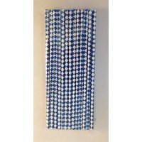 Funcart Funcart Paper Straws 25Pcs Bue With White Diamond Design