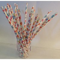 Funcart Funcart Paper Straws 25Pcs Flower Colourful Design