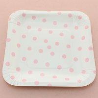 Funcart Pink Polka Dot Square 7 Plates (12 Pcs Per Pack)