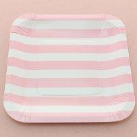 Funcart Pink Sailor Striped Square 7 Plates (12 Pcs Per Pack)