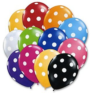 Funcart Polka Dot Balloons Assorted Colors (Pack Of 10)