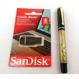 SanDisk 8 GB Cruzer Blade Pen Drive + Baoer Brand 507 Brass Antique Look Roller Ball Pen
