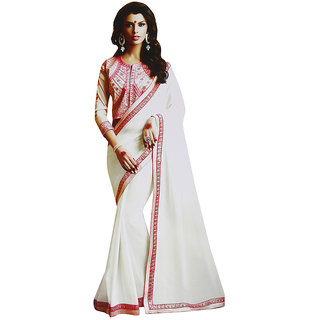Sitaram Womens White georgette work saree in lace border with blouse piece