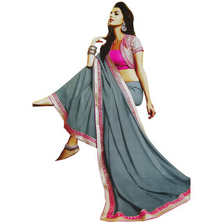 Sitaram Womens Grey georgette work saree in lace border with blouse piece
