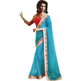 Sitaram Womens Turquoise georgette work saree in lace border with blouse piece