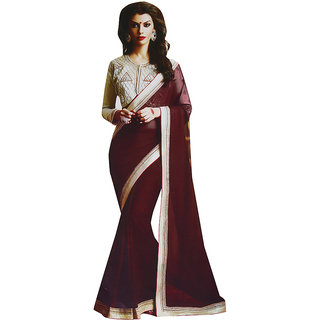Sitaram Womens Maroon georgette work saree in lace border with blouse piece