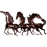 Three Running Horses Feng Shui Antique Home Decor Copper Plated Wall Hanging