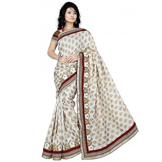 Sitaram Womens WhiteMaroon colour brasoo-jacquard  sarees in embroidered lace