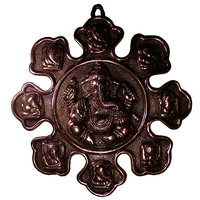 Lord Ganesha Showpiece Antique Home Decor Wall Hanging Copper Plated Gun Metal