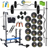 New Brand Fitfly 100Kg Weight20 In 1 Bench3Ft Zigzag Rod5Ft Straight Rod