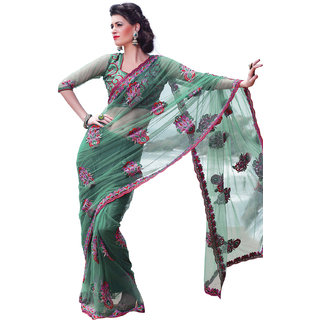 Prafful Green Net saree with unstitched blouse