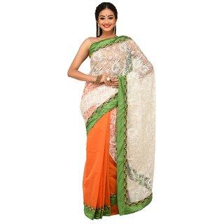 Sudeshnas boutique self design net handloom multicolor saree