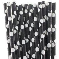 Funcart Polka Dot Paper Straws 25Pcs Black