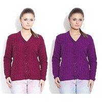 Sukuma Woolen Cardigan Combo of 2  Meganta-Purple