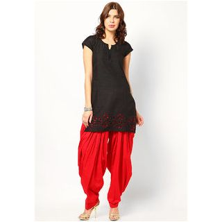 PISTAA'S RED Colour Designer Ready To Wear Full Cotton Patiala Salwar