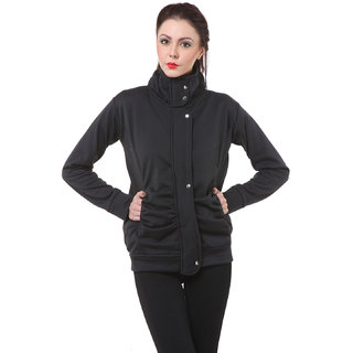 Purys Fleece Buttoned Women Sweatshirt Black