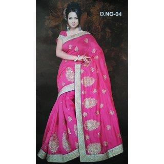 Tulsi Bhagalpuri Pink Saree