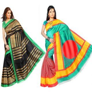 Muta Fashions Bright Bhagalpuri Sari (Pack Of 2)