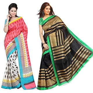 Muta Fashions Magnetic Bhagalpuri Sari (Pack Of 2)