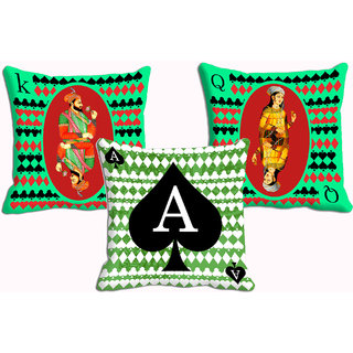 Mesleep Playing Cards Trio Combo 3Pc Digitally Printed Cushion Cover