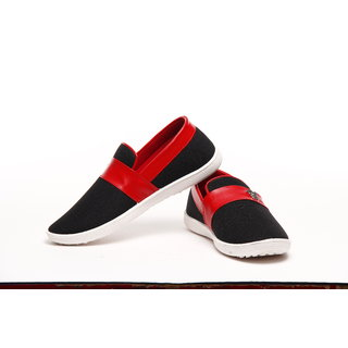 Black And Red Casual Slip On Shoes With Metallic Accessory