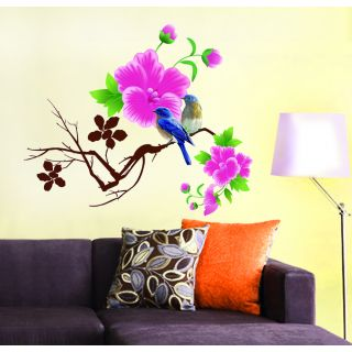 Home & Kitchen Top Offers Starting @ Rs.55 By Shopclues | Wall Stickers Wall Decals Living Room Design Blue Birds With Pink Flowers (65x70 Cm) @ Rs.79