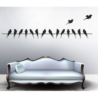 Pvc Beautiful Long Tail Birds On Wire Wall Decal (59X12 Inch)