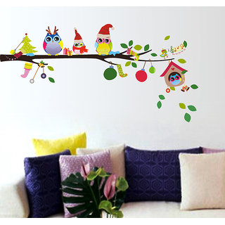 Walltola PVC Multicolor PVC Merry Christmas Winter Owls Decor Nature Wall Decal (28X10 Inch) (No of Pieces 1)