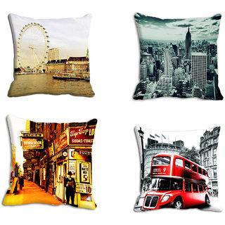 Mesleep Old City Combo 4Pc Digitally Printed Cushion Cover