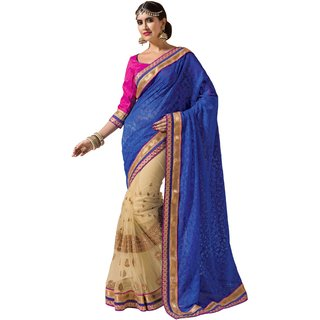 Prafful Blue Jacquard-Net saree with unstitched blouse
