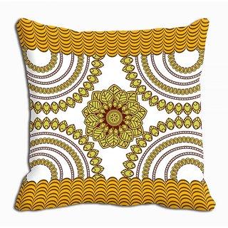 Mesleep Yellow Abstract Digitally Printed Cushion Cover