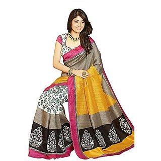 Divyaemporio Cotton Silk Self Print Saree (Dev-10920 Multi-Coloured)