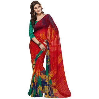Prafful Multicolor chiffon saree with untitched blouse
