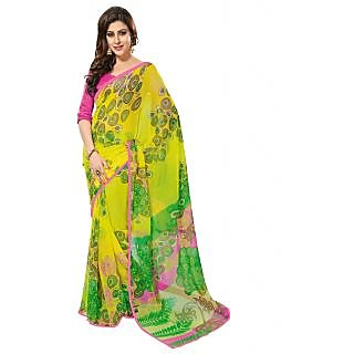 Prafful Yellow chiffon saree with untitched blouse