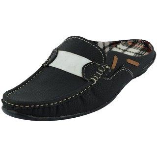 Factory London Mens Black and White Back Less Slip Sandals