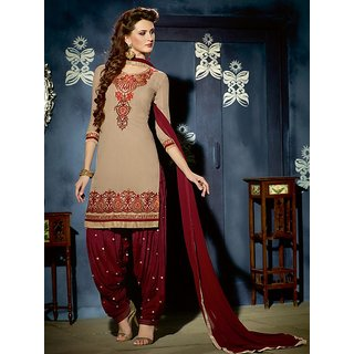 Sareemall Beige Georgette Embroidered Salwar Suit Dress Material