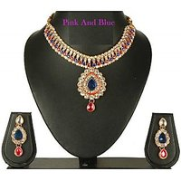 Blue and Pink pearl dulhan necklace set